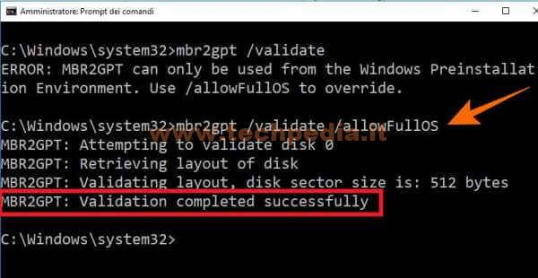 Conversione Disco Da Mbr A Gpt Per Uefi Windows 10 031