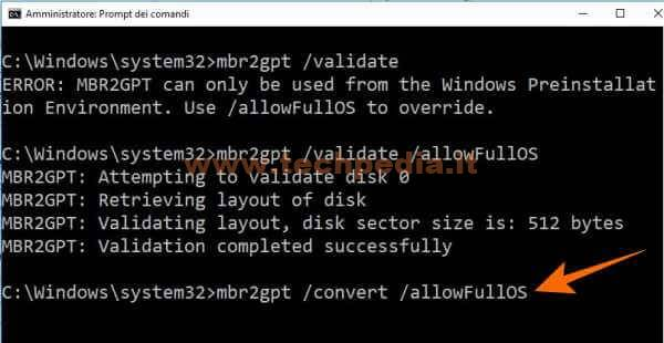 Conversione Disco Da Mbr A Gpt Per Uefi Windows 10 043