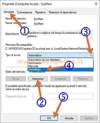 Velocizzare Windows 10 Disabilitare Sysmain 019