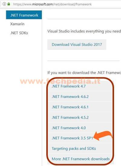 Installare Net Framework Windows 001