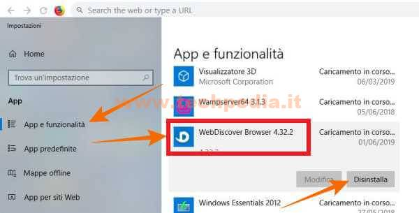 Rimuovere Barra Browser Fissa Desktop Windows Webdiscover 010
