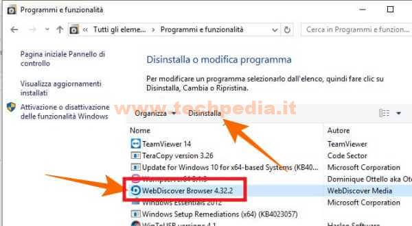 Rimuovere Barra Browser Fissa Desktop Windows Webdiscover 025