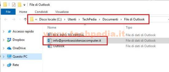 Salvare File Pst Pec Outlook 019